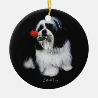 Shih Tzu With Rose Ceramic Ornament
