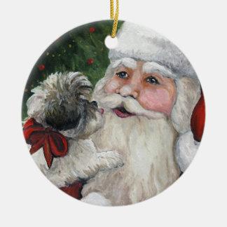 Shihtzu and Santa Dog Art Christmas Ornament
