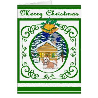 Shihtzu Vintage Christmas Card