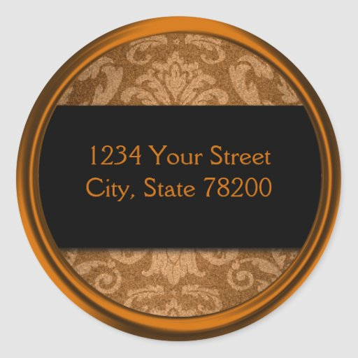 Shimmer Damask Copper Return Address Seal Round Stickers