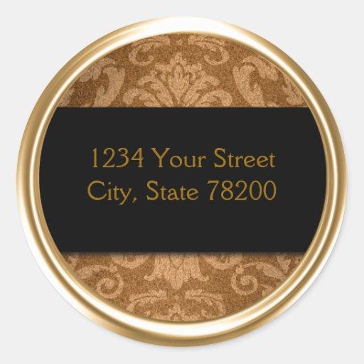 Shimmer Damask Gold Return Address Seal Round Sticker