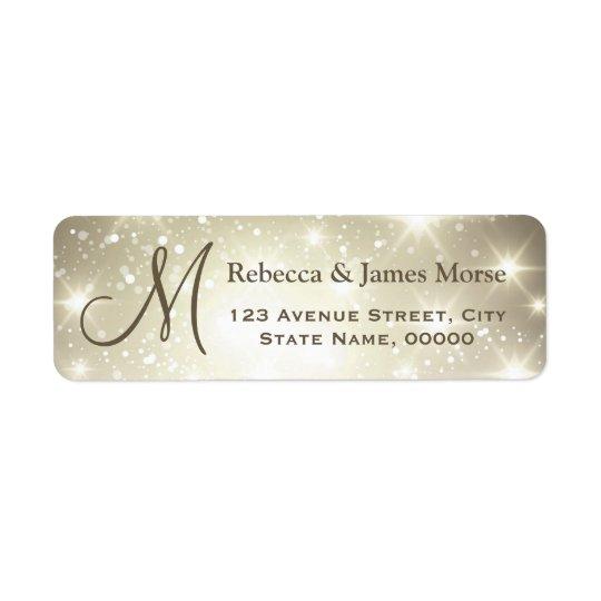 Shimmer Dazzling Sparkles Look Monogram Wedding Return Address Label