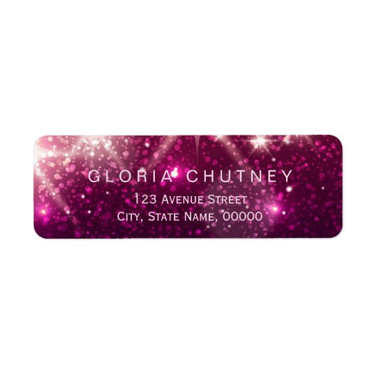 Shimmer Pink Glitter Sparkles Trendy Look Return Address Label