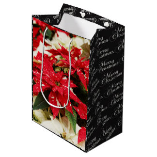 Shimmer Surprise Poinsettias Medium Gift Bag