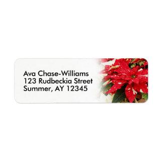 Shimmer Surprise Poinsettias Return Address Label