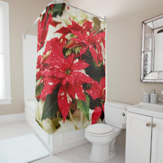 Shimmer Surprise Poinsettias Shower Curtain