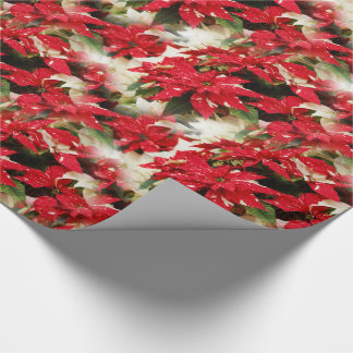 Shimmer Surprise Poinsettias Wrapping Paper