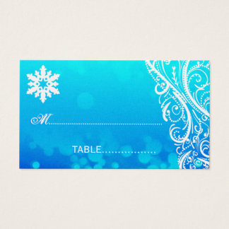 Shimmer Winter  Snowflake  Wedding Place Card