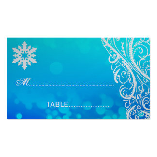 Shimmer Winter  Snowflake  Wedding Place Card Business Cards