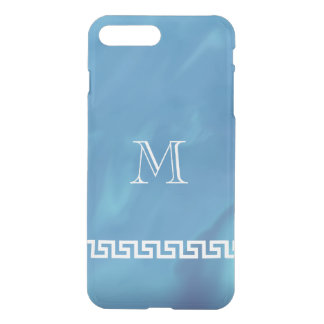 Shimmering Blue Greek Key Monogram iPhone 7 Plus Case