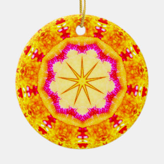 Shimmering Christmas Star Fractal Ceramic Ornament