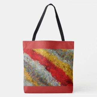 shimmering christmas wires on tote bag