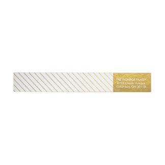 Shimmering Faux Gold Foil Stripes Address Labels Wraparound Return Address Label