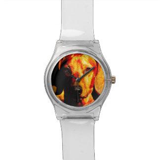 Shimmering Glowing Dachshund Face Closeup Wristwatch