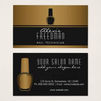 Shimmering Gold and Charcoal Black Nail Technician Business Card