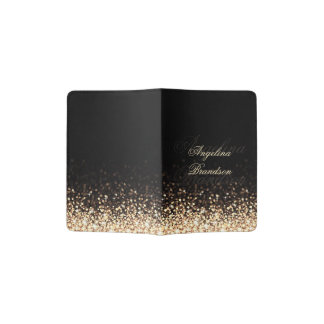 Shimmering Gold Glitter Black Passport Holder