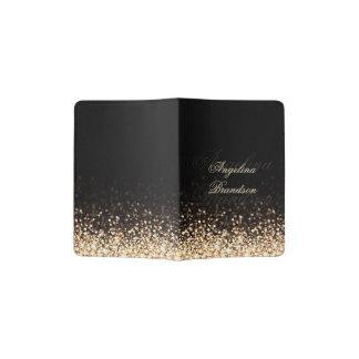 Shimmering Gold Glitter Black Passport Holder