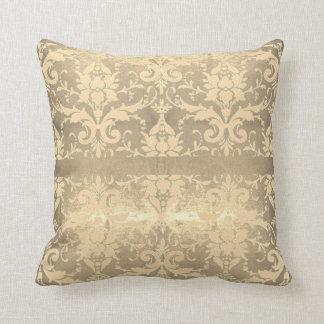 Shimmering Gold Vintage Scroll Cushion