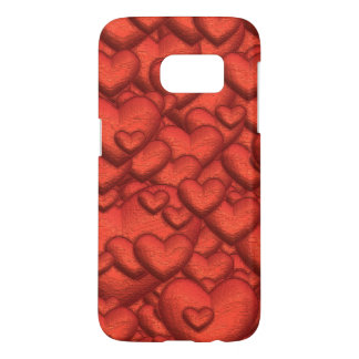 Shimmering hearts deep red