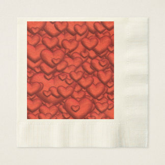 Shimmering hearts deep red disposable serviette