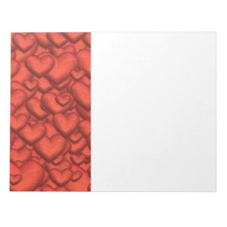 Shimmering hearts deep red notepad