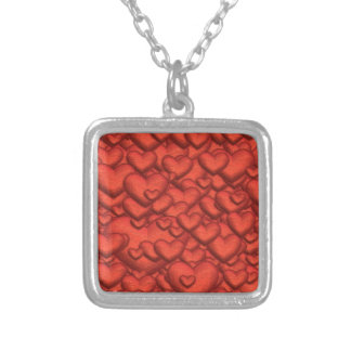 Shimmering hearts deep red silver plated necklace