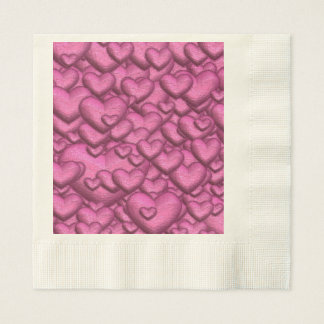 Shimmering hearts pink disposable napkins