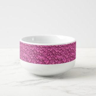 Shimmering hearts pink soup mug