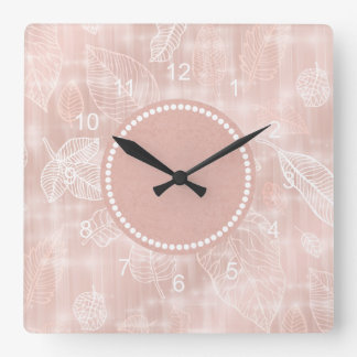 Shimmering Leaves Outline Rose Gold ID288 Clock