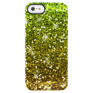 Shimmering Light Green Gold Glitters Clear iPhone SE/5/5s Case