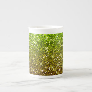 Shimmering Light Green Gold Glitters Tea Cup