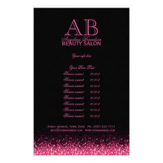 Shimmering Pink Star Design Black Price List Flyer