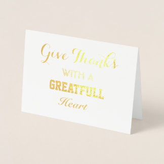Shimmering Real Gold Give Thank Typography Foil Card