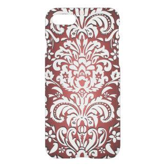 Shimmering Red Floral Damask iPhone Case