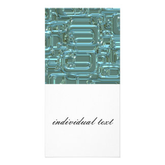 shimmering retro pattern,aqua (I) Customized Photo Card