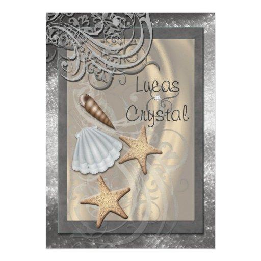 Shimmering Seashell Grey Beach Wedding Invitation