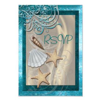 Shimmering Seashell Teal Beach Rsvp Invitation