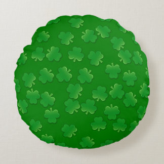 Shimmering Shamrocks Round Cushion