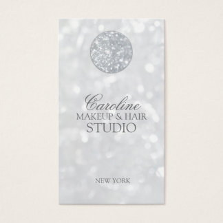 Shimmering Silver Ball Makeup & Hair Stylist Card