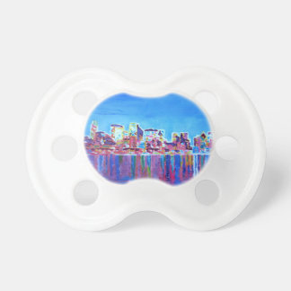 Shimmering Skyline Of Chicago Skyline At Night Pacifiers