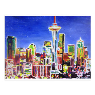 Shimmering Skyline Of Seattle With Space Needle Postcard