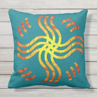 Shimmering Tribal Sun Throw Pillow