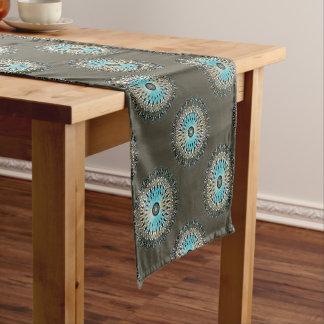 Shimmering turquoise kaleidoscope short table runner