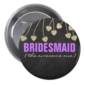 Shimmery Chic Bridesmaid Button Pin (purple)