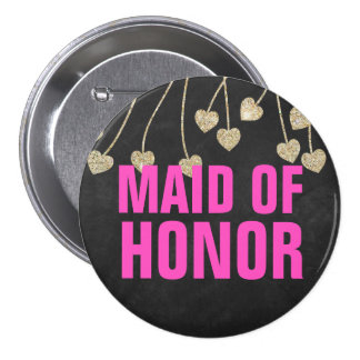 Shimmery Chic Maid of Honor Button Pin