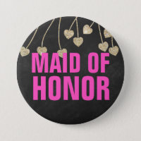 Shimmery Chic Maid of Honour Button Pin