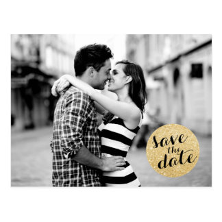 SHIMMERY CIRCLE SAVE THE DATE ANNOUNCEMENT POSTCARDS