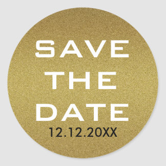 Shimmery Gold Glitter Save The Date Classic Round Sticker