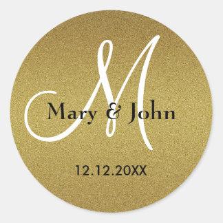 Shimmery Gold Wedding Monogram Seals
