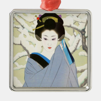 Shimura Tatsumi Two Subjects Japanese Women Snow Silver-Colored Square Decoration